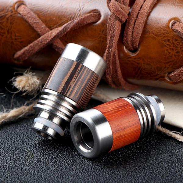 Красный деревянный наконечник капельного лучший 510 Redwood капельного советы Redwood + нержавеющая сталь широкое отверстие мундштук fit атомайзер электронная сигарета DHL бесплатно