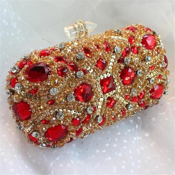 Atacado-New cravejado de embreagem de jóias de casamento bolsa de noiva de luxo sacos de noite de diamante Lady ouro de embreagem mulheres partido sacos de cristal Hot XA768B