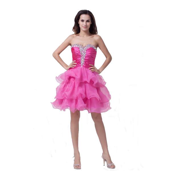 Fashion Beaded Sweetheart Style Ladies Cocktail Dress Above Knee Length Free Shipping Fuchsia Organza Party Gown