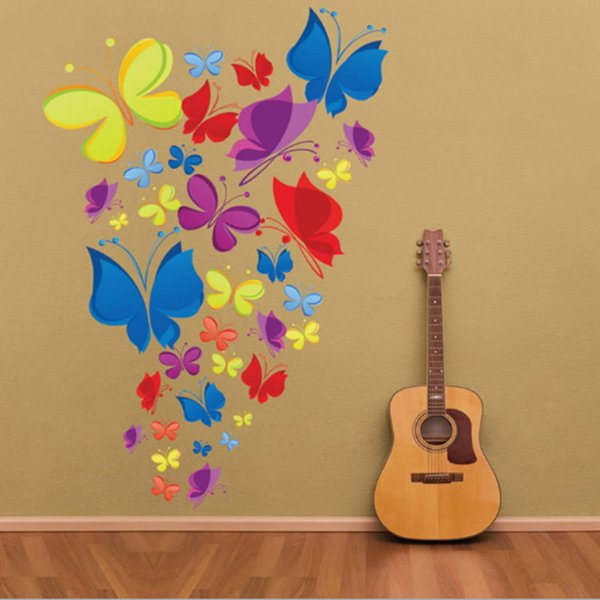 Butterfly Wall Stickers Art Decal Removeable Wallpaper Mural Sticker for Kids Room Bedroom Girls Living Room Adhesive Decorative