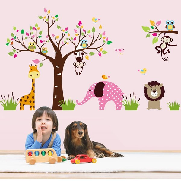 Monkey Elephant Forest Animal Kindergarten Wall Stickers Large Tree Vinyl Decals Living Room Home Decorative Free Shipping
