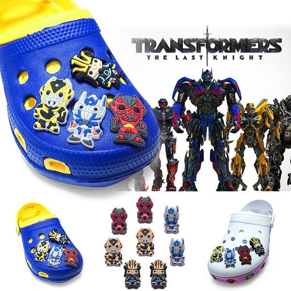 8Pcs/lot Transformers PVC Cartoon Shoe Charms Ornaments Buckles Fit for Shoes & Bracelets ,Charm Decoration,Shoe Accessories Party Gift