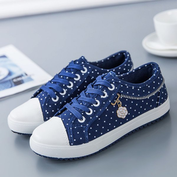 Women Casual Shoes Fashion Round Dot Pattern Casual New Brand Women Canvas Shoes Female Waking Shoes.SP-070
