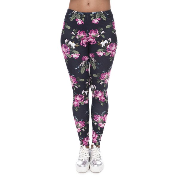 Women Leggings Retro Pink Rose 3D Graphic Print Lady Skinny Stretchy Comfortable Yoga Wear Pants Soft Black Trousers Free Shipping (J40579)
