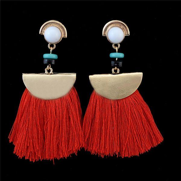 Acrylic Bead Drop Dangle Chandelier Red Color Tassel Pendant Women Earrings Gift 2017 Brand New Design Fashion Earrings Jewelry