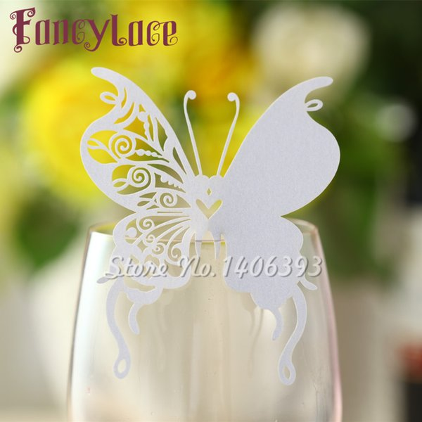 60PCS New Arrival Wedding Place Card butterfly Cups Glass Wine Customized Name Cards Laser Cut Pearl Paper Card Birthday Party Decoration