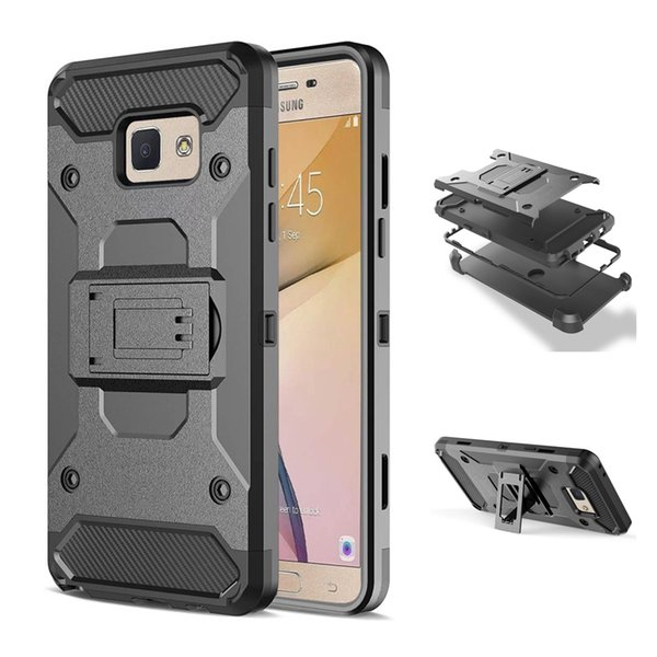 Armor Shockproof Case Cover for Samsung Galaxy J5 J7 Prime On5 On7 2016 Full Body Tough Protective Shell with Kickstand & Swivel Belt Clip