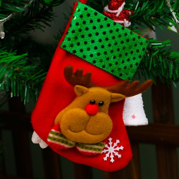 Christmas Stockings Gift Bags Ornament Decoration Santa Claus Candy Sock Xmas Tree Hanging Merry Christmas Snowman Reindeer Eve