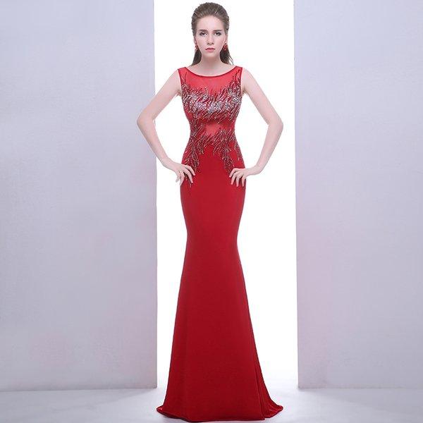 Compre Nueva Marca Vestido De Sirena Roja Con Cuentas Vestido De Fiesta Del Diseñador Del Banquete De Noche Con Apliques Vestido De Las Mujeres Precio