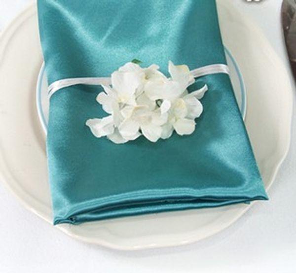 "best selling 50pcs lot Teal Blue Square 20""(50*50cm)Satin Dinner Napkins or Handkerchiefs Wedding New Table Serviettes"