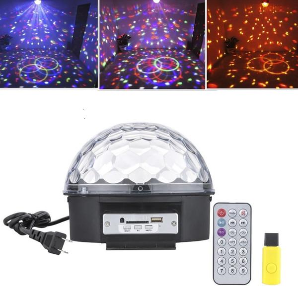 Mp3 LED RGB Crystal Magic Ball Effect Light 6 colores Rotating Disco Stage Light con control remoto U-disk para KTV Xmas PartyClub Pub