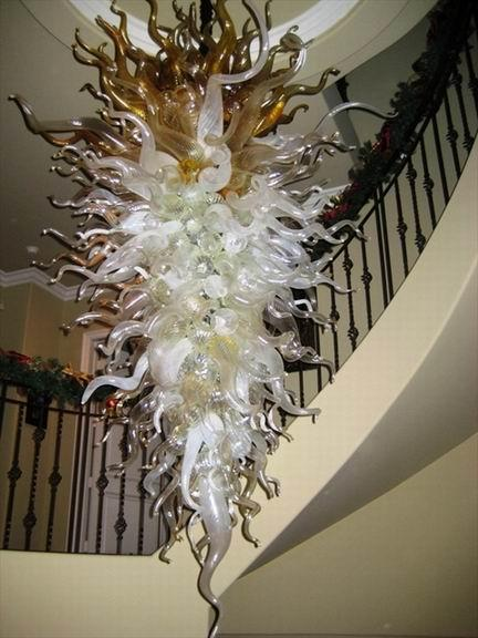 Großes Hotel mundgeblasener Glasleuchter Chihuly Art Wechselstrom 120v / 240v LED Birnen-Ausgangsbeleuchtungs-Dekoration künstlerisch
