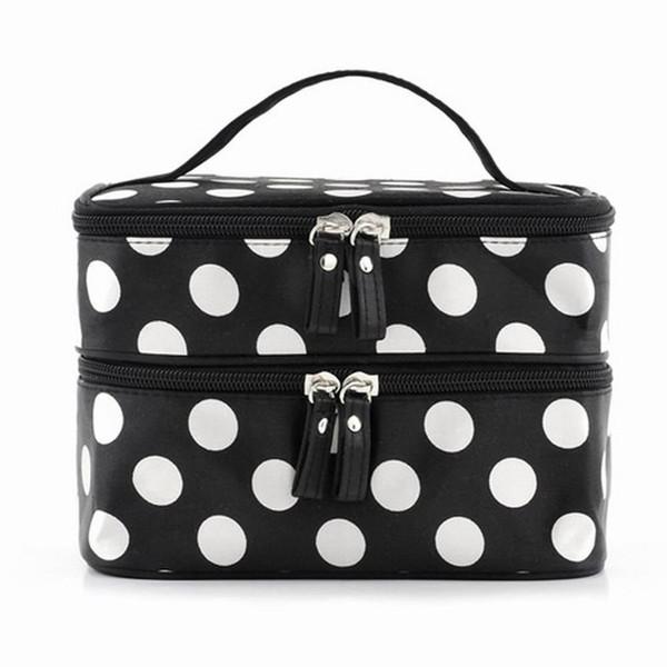 Wholesale- VSEN Hot StyleBlack Polka Dots Travel Cosmetics MakeUp Bags Beauty Organiser Toiletry Purse