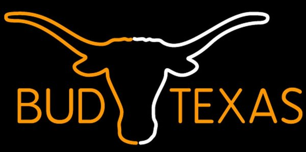 Bud Texas Saffron And White Longhorn Neon Sign 16x16