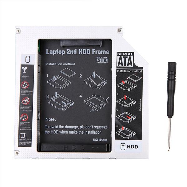 Wholesale- Universal Aluminum SATA 3.5'' SATA 2nd HDD Caddy Hard Enclosure 12.7mm SDD Case HDD Enclosure for Laptop CD DVD-ROM ODD