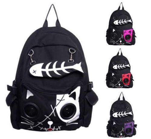 Wholesale- Borsa per altoparlanti by Banned KIT Cat Animal Zaino Backpack Emo Gothic Plug Gioca Fish Bone