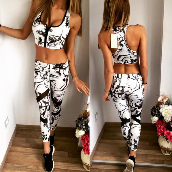 Women's Sporting Suits Mysterious Vintage Style Porcelain Pattern Print Vest Crop Top Shirt + Pants Cotton Zipper Sportswear