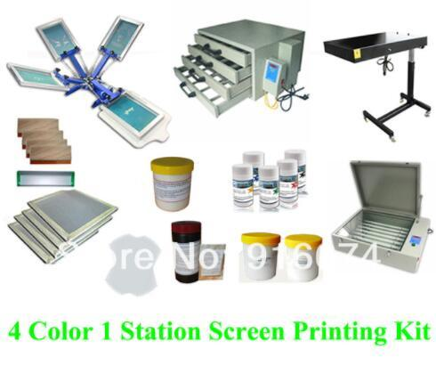 FAST FREE shipping Full set 4 color silk screen printing kit ink emulsion t-shirt printer press equipment UV exposure squeegee
