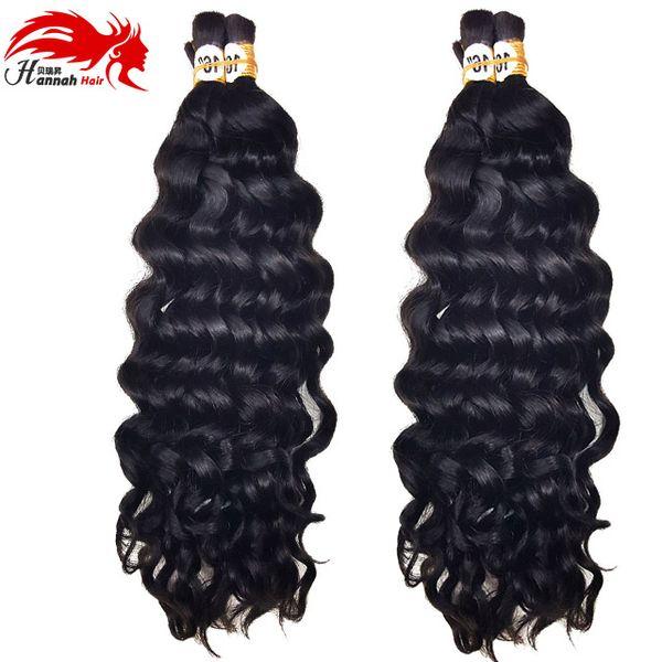 top popular Top Quality Brazilian Remy Hair 3bundles 150g Human Virgin Hair Braids Bulk Deep Wave No Weft Wet And Wavy Deep Curly Braiding Bulk Hair 2019