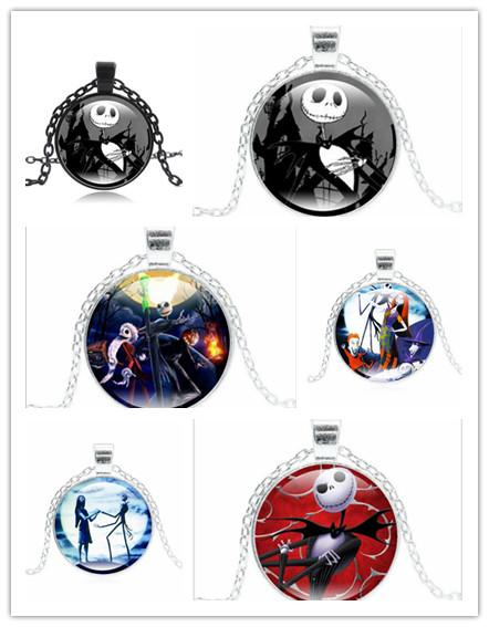 Hot! 10pcs Punk Jewelry with Glass Cabochon Nightmare Before Christmas Pattern Choer Long Pendant Necklace for Women Party