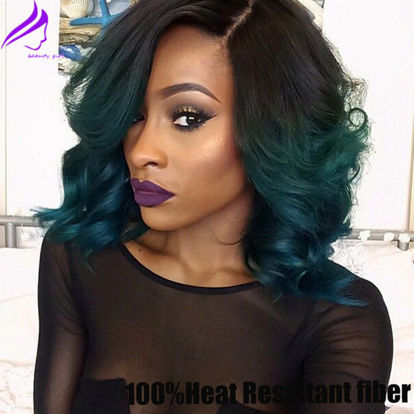 Free shipping black to dark green ombre Bob Wigs Synthetic Lace Front Wig short bob Heat Resistant with baby hair in stock