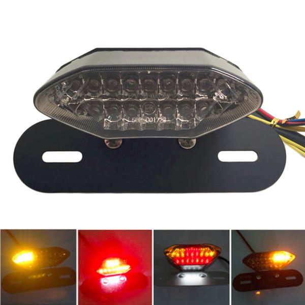 Lentille de moto noire LED lumières frein de queue intégré Stop ampoule de licence de course Ampoule de moto queue clignotant pour quad quad