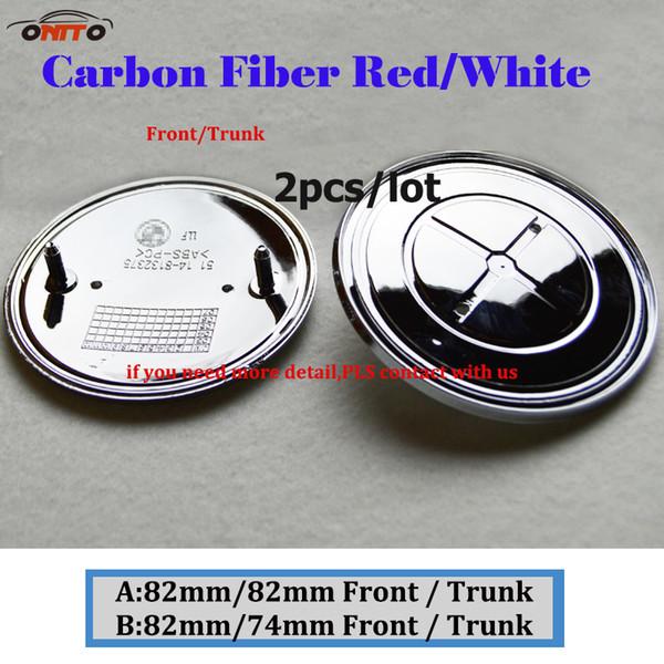 2Pcs 82MM 74MM Auto Head Hood Logo Cap Rear Boot Badge Tail Trunk Label Carbon Fiber Red White Car Front Bonnet Emblem Cover