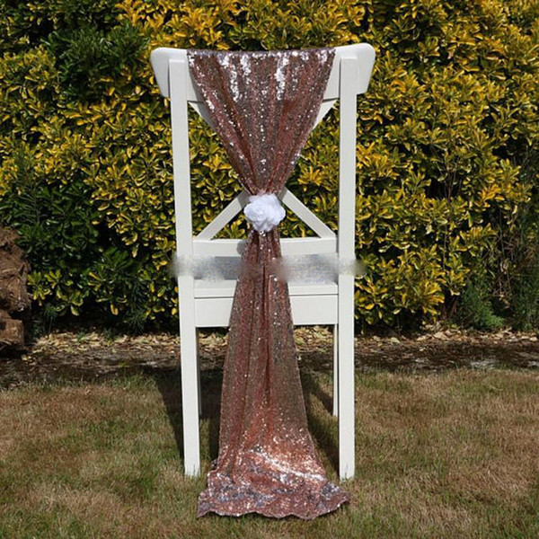 Cheap Rose Gold Sequin Chair Sashes Fomal Wedding Party Decor Dazzling Chair Bows Chair Covers 150*50cm Size