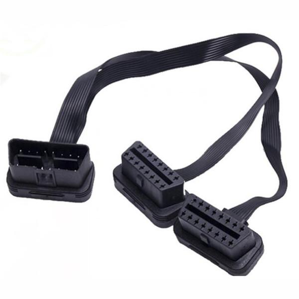 30 cm nero 2in1 flessibile prolunga OBD2 plug connettore 16 pin per strumenti diagnostici obd 2