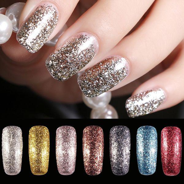 top popular New Gold Foil Gel Nail Polish 24 Colors Long Lasting Nail Gel Vernis Semi Permanent Glitter Gelpolish Varnish 2020