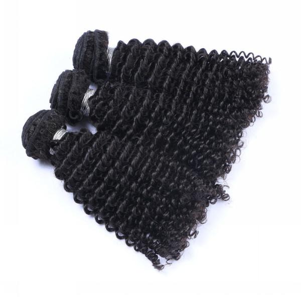 Pelo virginal brasileño rizado rizado sin procesar peruano malasio indio camboyano del pelo humano armadura rizado brasileño rizado paquetes de pelo