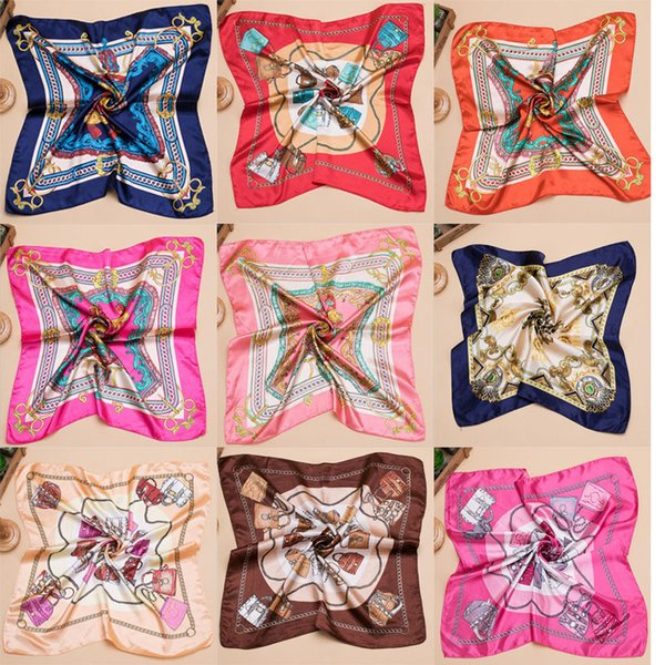 20 Colors Women's Printed Silk Square Scarf Vintage Floral Collections 60*60cm