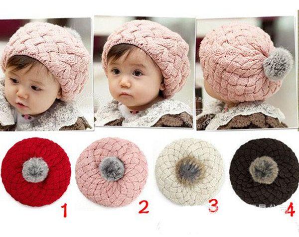 2017 New Baby Winter Hat Knit Crochet Baby Beret Girl Cap For Children Cotton Warm Cap Cute Warm Kid Beanie Unisex