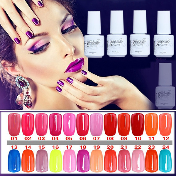 Wholesale-NO.01-24 5ML MINI PACK 2015 Brand New Gelpolish Soak Off UV Gel Polish BASE TOP COAT Primer Nail Art Color Foundation
