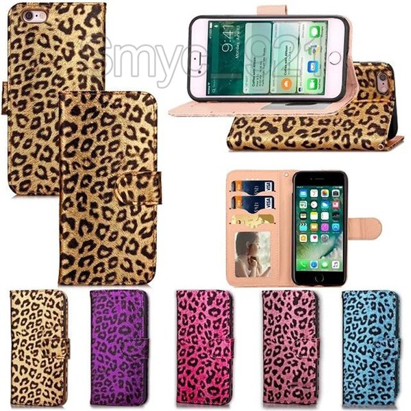 Case for iphone 7 Leather wallet Leopard magnetic phone case flip With card slot Photo Frame kickstand case for iphone 6s plus 7plus