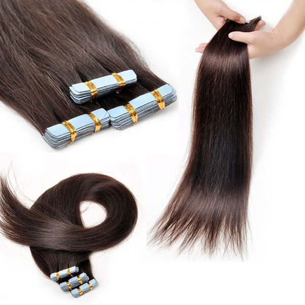 #2 Straight Tape In Human Hair Extensions 20pcs 30g 40g 50g 60 70g Cheap Indian Remy Human Hair Skin Weft