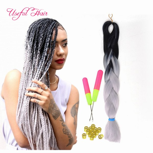 Ombre blue,grey,pink,blue jumbo braiding hair synthetic two tone color JUMBO BRAIDS bulks extension cheveux 24inch ombre box braids hair