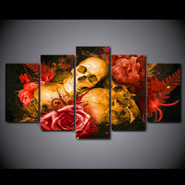 HD Printed 5 Piece Canvas Art Abstract Skull Painting Red Rose Wall Pictures for Living Room Home Decor Free Shipping CU-2251B