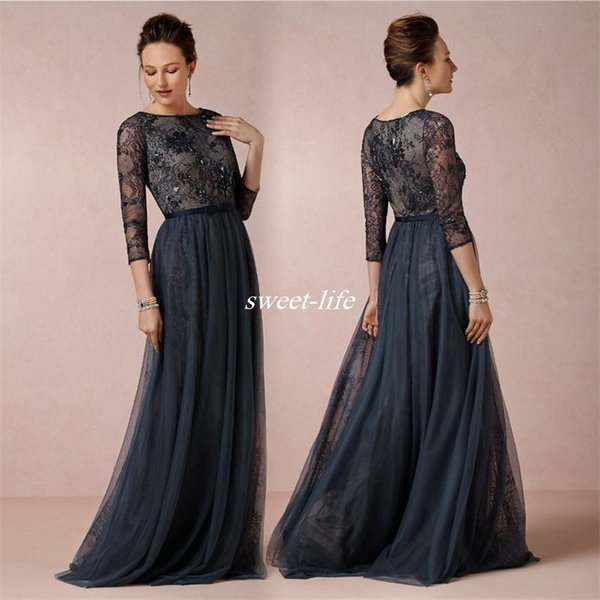 2017 Modest Navy Blue Long Mother of the Bride Dresses with 3/4 Sleeve Groom Mother Party Gowns Tulle Lace Evening Dresses Vintage