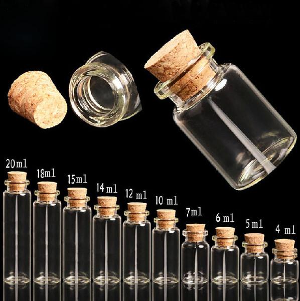 200pcs 6ml ciondolo bottiglia di vetro mini fascino, piccola bottiglia di vetro di whisky Vial D22 * H30mm