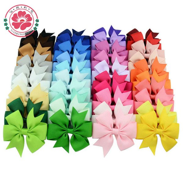 best selling Hair Bows Hair Pin for Kids Girls Children Hair Accessories Baby Hairbows Girl with Clips Flower Clip Hot 40 Colors