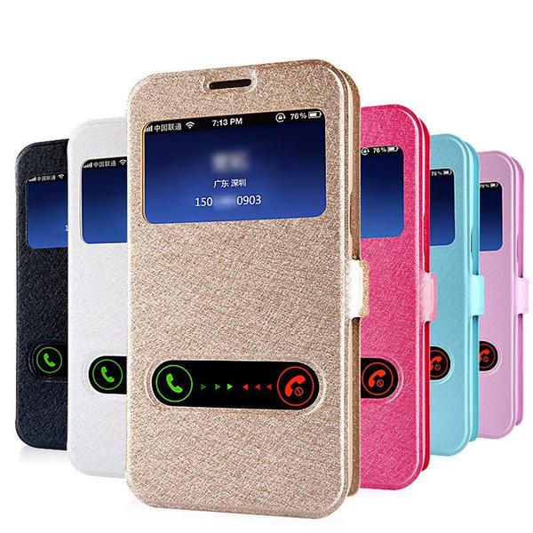 Caso di vibrazione in pelle vista frontale anteriore di lusso per Samsung Galaxy S8 Grand Prime G530 S8 Plus S7 S6 Edge Plus S4 S5