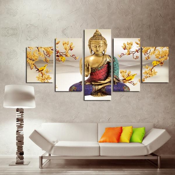 (No Frame) 5 Pcs / Set Sans Encadré Orchidée Religieuse Créative de Bouddha Paysage Peinture à L'huile