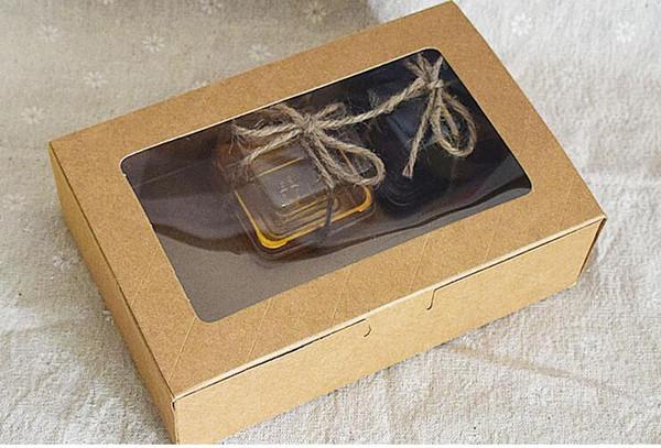 Toptan-Qi Boyutu: 18 * 12 * 5 cm Kraft Pencere Kutuları Ambalaj Özel Hediye Kutuları Şeker / Kek / Sabun / Çerez / Cupcake Ekran ambalaj Kutuları 10 adet / grup