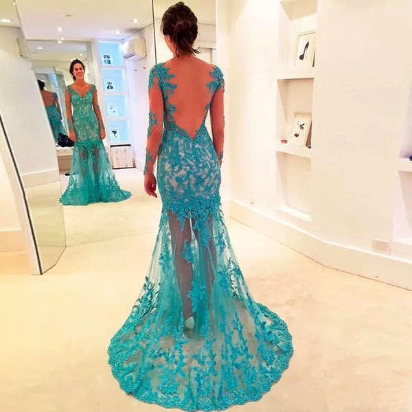 Sexy Deep V Neck Mermaid Evening Gowns 2019 Long Sleeves Lace Appliques Backless Formal Dress Evening Wear Prom
