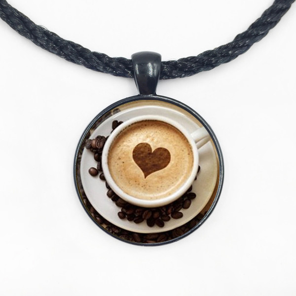 Free shipping New Hot glass dome jewelry Cappuccino Heart Coffee Necklace,Coffee Jewelry, Hot Chocolate Art Print Necklace