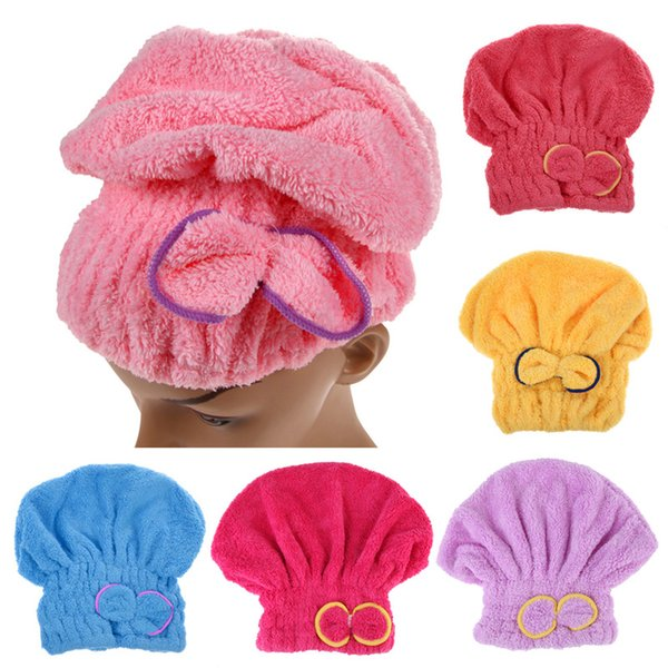 Free Ship 6 Colors Microfiber Solid Quickly Dry Hair Hat Womens Girls Ladies Cap Bathing Tool Drying Towel Head Wrap Hat