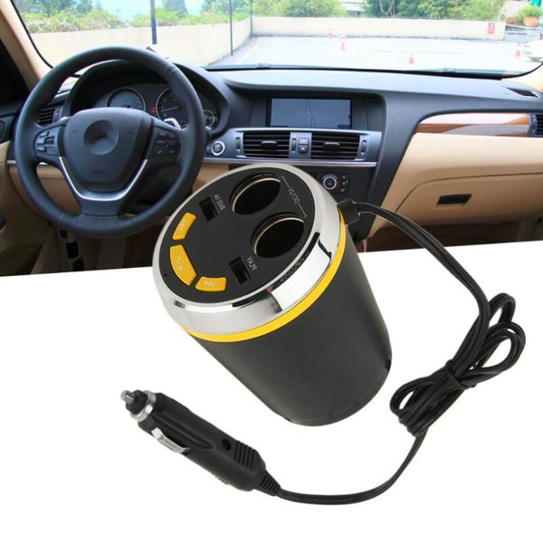 Portable CUP Car Charger Bluetooth Car Kit de manos libres del encendedor de cigarrillos adaptador Splitter con 2 puertos USB