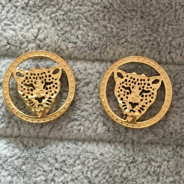 Punk Style luxury letter 18K Gold plated Leopard Head hollow round cz diamond Stud Earrings For Women
