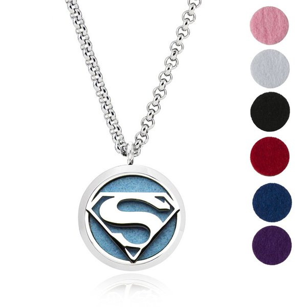 Aromatherapy Essential Oil Diffuser Necklace Jewelry -30mm Hypoallergenic 316L Surgical Grade Stainless Steel(Send Chain and 6 Felt Pad) Y11